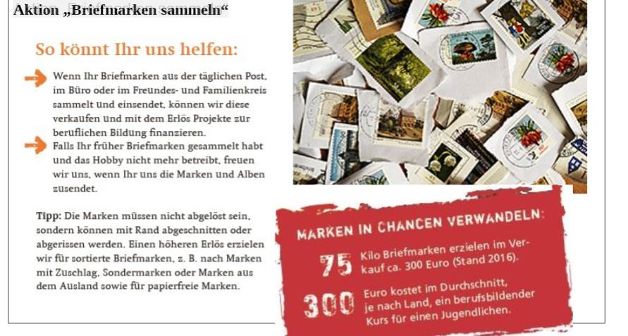 Kolpingfamilie Horb Am Neckar Aktion Briefmarken Sammeln